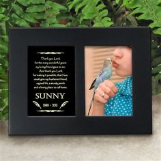 'Golden Memories' Personalized Pet Bird Memorial Picture Frame | EtchedInMyHeart.com | Satin Black Finish - $19.95
