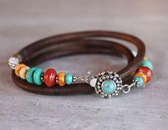 Turquoise Leather Bracelet - Triple wrap bracelet turquoise, coral, silver jewelry bracelet beaded bracelet via Etsy