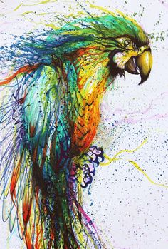 I love this parrot, beautiful techniques