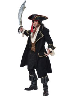 If your plans for the night include plunder pillaging, this costume just might be for you. Our Deluxe Pirate Captain costume for men is perfect for any buccaneer looking for adventure. With this distinguished looking jacket and of course your captain. Adult Pirate Costume, Pirate Halloween, Pirate Hats, Halloween Fancy Dress, Halloween Cosplay, Adult Costumes, Cosplay Costumes, Halloween Costumes, Pirate Costumes