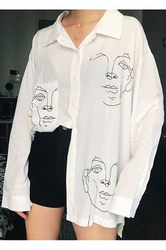 New Summer Blouse Shirt Female Cotton Face Printing Full Sleeve Long Shirts Women Tops Ladies Clothing Style Outfits, Mode Outfits, Fashion Outfits, Fashion Blouses, Fashion Women, Fashion Tips, Mode Ootd, Painted Clothes, Painted Jeans
