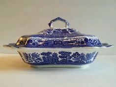 Antique ALLERTON Flow Blue Willow China Covered Vegetable/Casserole Dish