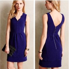 • Fitted Navy Blue Dress • In excellent condition! Only worn 3 times and dry cleaned. Navy blue in color (color best shown in first pic). Has pockets and a v neckline. Great for formal occasions as well as a night out  Anthropologie Dresses Midi