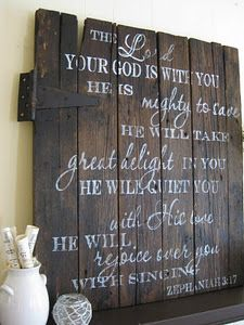 barn door ---Handpainted sign with scripture verse Zeph. a salvaged barn door stained dark walnut color and includes rustic hinges. The lettering is all hand painted and is white. Size is approx. x Would totally do this on a pallet. Bible Verse Signs, Bible Verses, Scripture Art, Scripture Pictures, Biblical Quotes, Bible Quotes, Quotes Quotes, Wood Barn Door, Rustic Doors