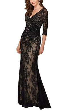 f5084187c7339 Mollybridal V neck Lace 3 4 Sleeves Mother of the Bride Plus size Prom Dress  2