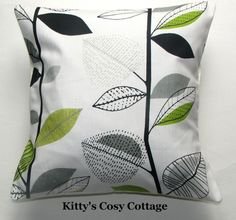 16  New Retro Chic Lime and charcoal leaves fabric cushion cover