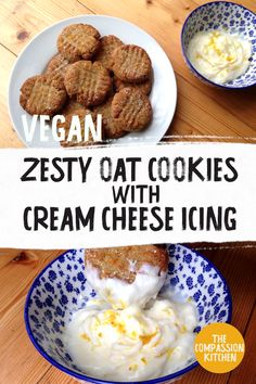 Sweet oat cookies with a subtle citrus kick, topped or dipped in tangy lemon icing Healthy Vegan Desserts, Vegan Appetizers, Vegan Dessert Recipes, Vegan Treats, Delicious Vegan Recipes, Vegan Food, Vegetarian Recipes, Baking Recipes, Cookie Recipes