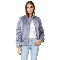Acne Studios Leia Bomber Jacket (38.965 RUB) ❤ liked on Polyvore featuring outerwear, jackets, lilac, zip jacket, flight bomber jacket, zipper jacket, lined bomber jacket and bomber jacket