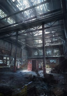 Gears of War: Warehouse Interior - Here, effort is put in to make the art look realistic, with lighting and architecture, placing players into a feeling of peril and anticipation as an empty warehouse is bound to hide some type of danger. Despite the emptiness, there's plenty to look at here, from the scattered debris upon the ground to the bright paint from graffiti that still sticks upon the walls. Dark colors make the scene look appropriate to the game, although there are snippets of…