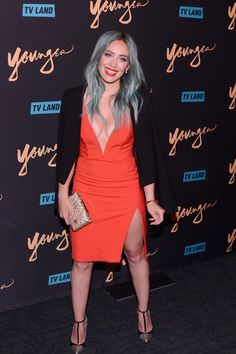 #hillaryduff wearing #porterlyons Spike Earrings in gold vermeil at the 'Younger' premier with Sutton Foster in NYC.