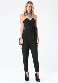 Black V Notched Strapless Jumpsuit | Fascinating Strapless ...