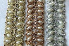 Fancy Diamante Beaded Indian Lace Trim Ethnic Ribbon Craft Sari Border 1 Meter