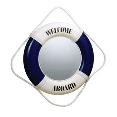 Life Saver Ring Mirror. Welcome Aboard! Featured on Completely Coastal: http://www.completely-coastal.com/2015/01/nautical-bathroom-accessories-blue-and-white.html