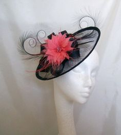 Navy Blue Sinamay Saucer & Loop Curl Feather Feather Flower Fascinator Hat Coral Ivory Pale Pink Nude Cerise Pink - Ideal for Royal Ascot