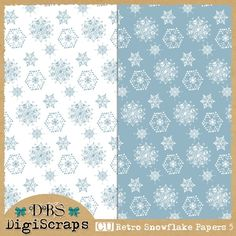 Free CU Retro Snowflake Papers 5
