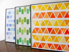 paint chip wall art   http://www.curbly.com/capreek/posts/10217-crafty-idea-geometric-wall-art-from-paint-chips