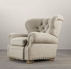 Someone finally made one. A stylish recliner. Churchill Upholstered Recliner can be found at Restoration Hardware. New Living Room, Living Room Chairs, Home And Living, Living Room Furniture, Living Room Decor, Cozy Living, Modern Living, Dining Chairs, Dining Room
