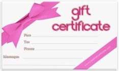 ... Gift certificate template, Free printable gift certificates and Gift