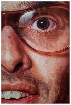 """Mark"" - Chuck Close (b. acrylic on canvas, 1979 {contemporary figurative realism art male head glasses man face portrait cropped painting detail Chuck Close Paintings, Chuck Close Portraits, Hyper Realistic Paintings, Inspiration Art, A Level Art, Realism Art, Portrait Art, Acrylic Portrait Painting, Painting Art"