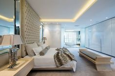 Clean lines and sophisticated finishes feature in the bedroom of the penthouse. Pent House, Clean Lines, Real Estate, It Is Finished, Bedroom, Cover, Inspiration, Furniture, Home Decor