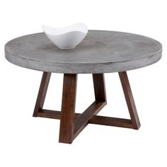 @Overstock - Sunpan Devons Rustic Concrete Round Coffee Table - Boasting an industrial-chic look with a substantial round concrete top mounted on a light espresso-finished wooden base, this handsome coffee table is sure to stand out. Simple yet contemporary, outfit your space with this rustic piece.  http://www.overstock.com/Home-Garden/Sunpan-Devons-Rustic-Concrete-Round-Coffee-Table/9216280/product.html?CID=214117 $599.99