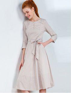 Gorgeous in Gingham Modest Midi Dress 1940s 1950s Vintage Inspired Retro Dress