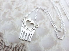 Love Giraffe Necklace Silver necklace Animal necklace Heart necklace Cute necklace Christmas Gift best friend Birthday Gift mom Birthday on Etsy, $16.00