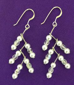 Branch Earrings in pearl and iridescent crystal - on sterling earwires by AnnPedenJewelry on Etsy