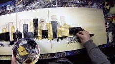 Abstract acrylic painting Demo by John Beckley HD Video - Cirisium (long...