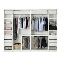 PAX Vaatekaappi, valkoinen, Fardal korkeakiilto/valkoinen - 300x60x236 cm - perussaranat - IKEA