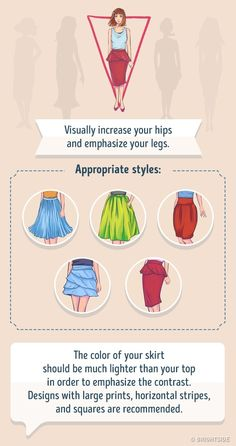 Skirts for a Inverted triangle body shape. Inverted Triangle Outfits, Inverted Triangle Body, Triangle Body Shape, V Shape Body, Shape Of Your Body, Fashion Mode, Skirt Fashion, Trendy Fashion, Style Fashion