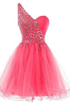 Luxury Pink Beaded One Shoulder Mini Prom Dresses Short Evening Dresses 2016 Graduation Cocktail Dresses Real Photo Women Party Dresses Formal Gowns