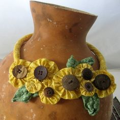 Sunflower Collection No. 1 Fabric necklace featuring yoyos and buttons