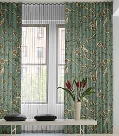 Revamp Your Interior with Contemporary Drapes: Modern Ripple Fold Floral Drapery ~ Interior Inspiration