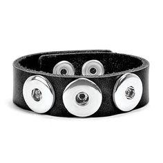 "Ginger Snaps 3 Snap Thin Leather Bracelet- Black Create your own interchangeable jewelry with Ginger Snaps Accessories. 7""-8.5"" adjustable length"
