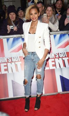 Splurge: Alesha Dixon's Britain's Got Talent London Auditions Balmain White Double Breasted Wool Twill Blazer and Tom Ford Black Open Toe Suede Ankle Lock Booties