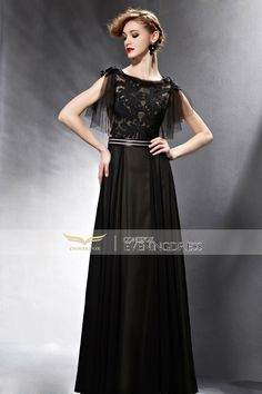 Black Hollow Appliques Belt Lace Tassel Short Sleeve Prom Dress 30590 #promdresses #longgown