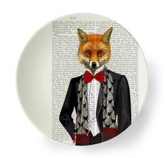 Bone china plate Fox Red Bow Tie fox plate decorative by FabFunky