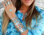 Silver Jewelry, Silver Bracelet, Silver Bracelets, Stacking Bracelets, Stacking Silver Bracelets, Stacking Silver Bangles Metallic TATTOOS