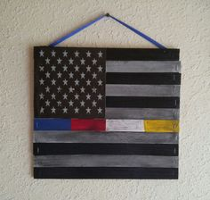 Officers Down Thin Blue Line Police, Fire, EMS, 911 Dispatcher Mini Pallet USA Flag