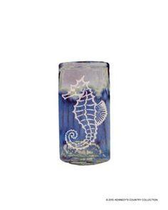 Decorative Seahorse Blue Glass Vase