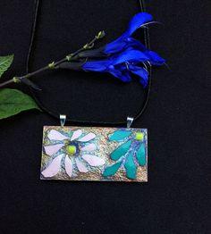 Mosaic pendant mosaic necklace broken china jewelry flower