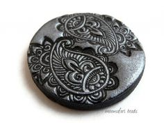 Bead embroidery and polymer clay jewelry by MoonsafariBeads Metal Clay Jewelry, Ceramic Jewelry, Polymer Clay Jewelry, Flat Shapes, Beaded Embroidery, Yin Yang, Paisley, Ceramics, Personalized Items