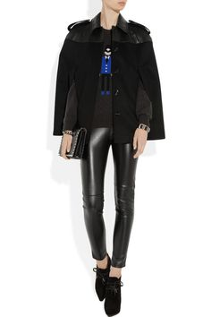 Burberry London|Leather and wool-blend felt cape|NET-A-PORTER.COM