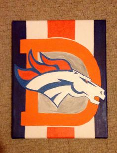 Denver Broncos. Drew free hand on canvas with acrylic paints