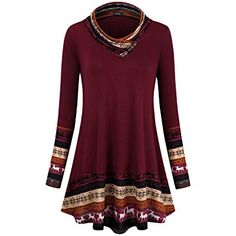 Miusey Cute Sweatshirt,Junior Cowl Neck Gorgeous Reindeer Patterned Christmas Sweater Burgundy Retro Knit Patchwork Long Sleeve Form Fitting Comfy Dressy Tunic Shirt Wine Red S Tunic Designs, Stitch Shirt, How To Wear Scarves, Loose Tops, Blouse Online, Printed Blouse, Shirt Blouses, Raglan Shirts, Tunic Tops