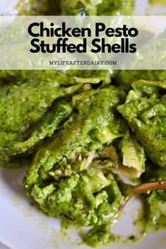 Creamy and dairy-free, these chicken pesto stuffed shells are the perfect summertime dinner. Made with a spinach pesto and shredded chicken stuffed into jumbo shells and topped with a spinach cream sauce these delicious stuffed shells are sure to hit the spot. Perfect for a summer dinner or a delicious lunch prep! Dairy Free Pesto, Dairy Free Recipes, Yummy Pasta Recipes, Delicious Dinner Recipes, Pesto Chicken, Baked Chicken, Creamy Spinach Sauce, Spinach Stuffed Shells, Chicken Flavors