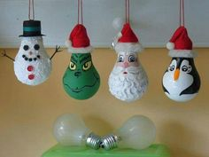 Painted lightbulb ornaments!!!  Recycle all those burnt out light bulbs into these adorable xmas ornaments!!!