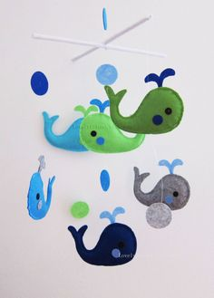 "Baby Mobile - Whale Crib Mobile - Handmade Nursery Mobile - ""Six Swimming Little whales"" (Match your bedding)"