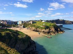 Looking back at Tenby's Castle Beach from St Catherine's Island, Pembrokeshire.